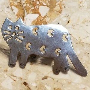 Silver Cat Pin Brooch